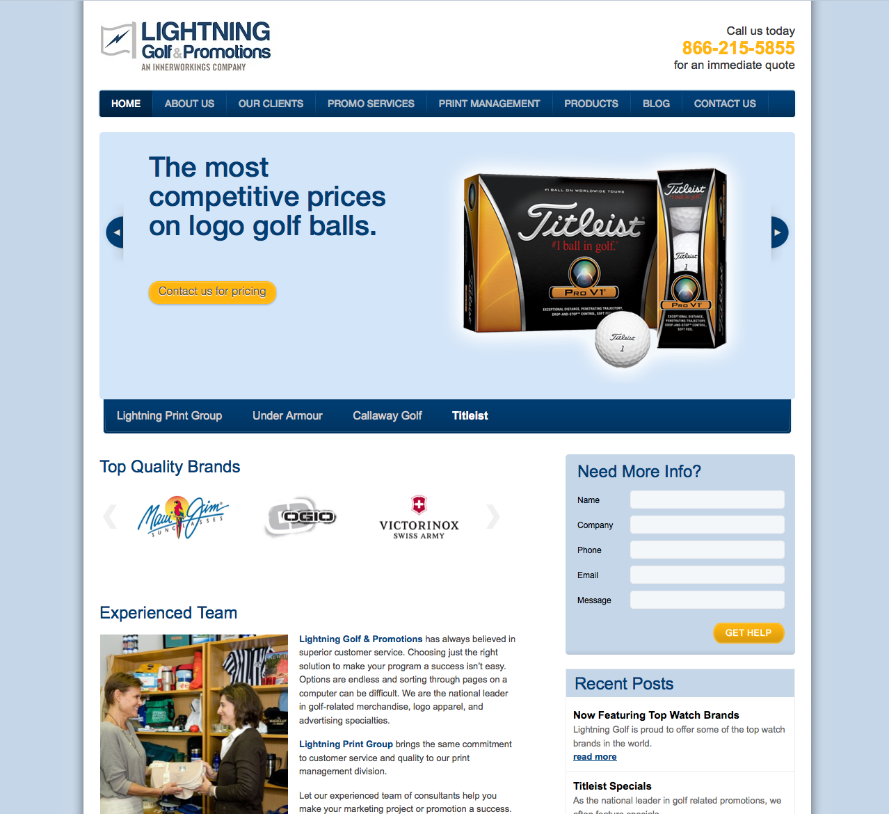 Lightening Golf Website